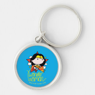 Chibi Wonder Woman Flying With Lasso Silver-Colored Round Keychain