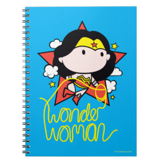 Chibi Wonder Woman Flying With Lasso Spiral Note Books
