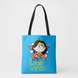 Chibi Wonder Woman Flying With Lasso Tote Bag
