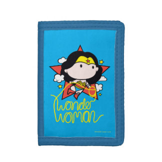 Chibi Wonder Woman Flying With Lasso Trifold Wallets