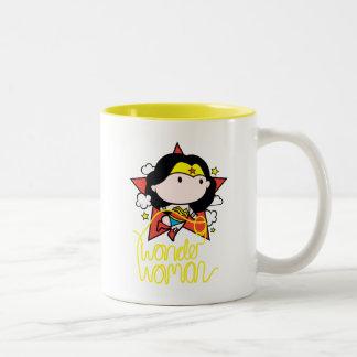 Chibi Wonder Woman Flying With Lasso Two-Tone Coffee Mug
