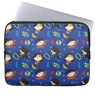 Chibi Wonder Woman, Superman, and Batman Pattern Computer Sleeve