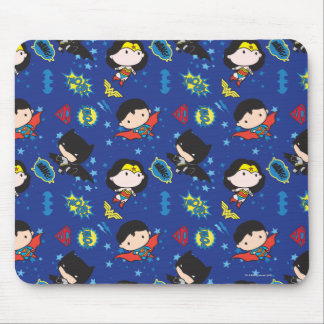 Chibi Wonder Woman, Superman, and Batman Pattern Mouse Pad