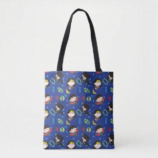Chibi Wonder Woman, Superman, and Batman Pattern Tote Bag