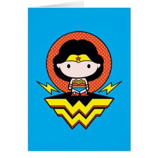 Chibi Wonder Woman With Polka Dots and Logo Card