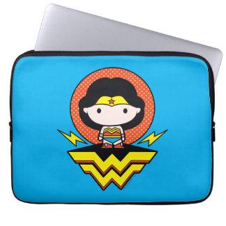 Chibi Wonder Woman With Polka Dots and Logo Laptop Sleeve