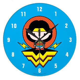 Chibi Wonder Woman With Polka Dots and Logo Large Clock