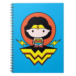 Chibi Wonder Woman With Polka Dots and Logo Notebooks