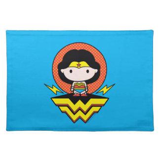 Chibi Wonder Woman With Polka Dots and Logo Placemat
