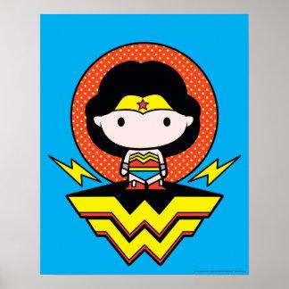 Chibi Wonder Woman With Polka Dots and Logo Poster