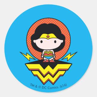 Chibi Wonder Woman With Polka Dots and Logo Round Sticker