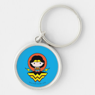 Chibi Wonder Woman With Polka Dots and Logo Silver-Colored Round Keychain