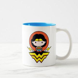Chibi Wonder Woman With Polka Dots and Logo Two-Tone Coffee Mug