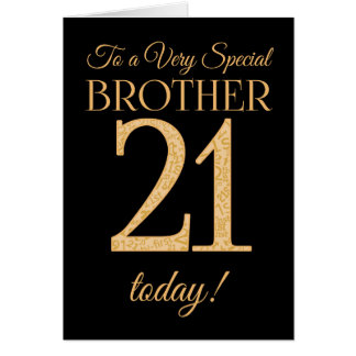 Chic 21st Gold-effect on Black, Brother Birthday Card