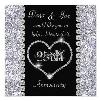Chic 25th Anniversary Invitation BLING