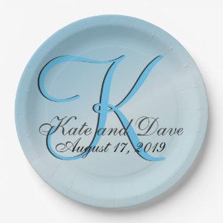 Chic 3d Monogram Customizable Aquamarine Paper Plate
