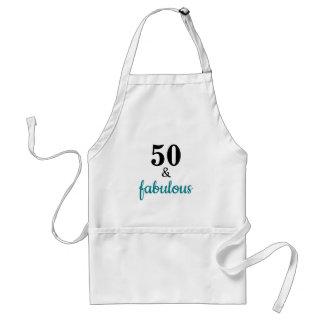 Chic 50 and Fabulous Teal Script Typography Standard Apron
