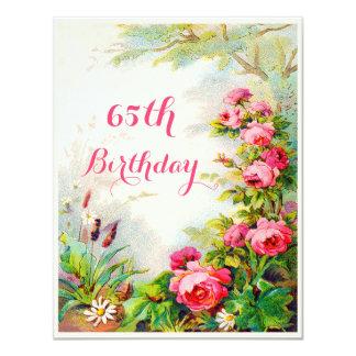 "Chic 65th Birthday Victorian Roses Cottage Garden 4.25"" X 5.5"" Invitation Card"