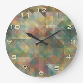 Chic Abstract Retro Triangles Mosaic Pattern Large Clock