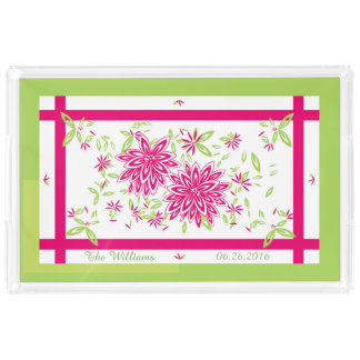 CHIC ACRYLIC SERVING TRAY_LOVELY HOT PINK/GREEN PERFUME TRAY