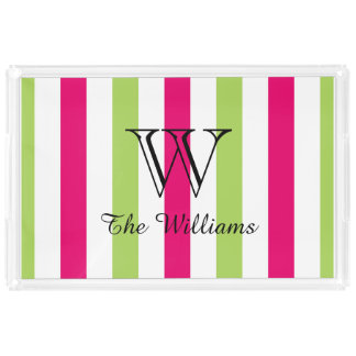 CHIC ACRYLIC SERVING TRAY_LOVELY HOT PINK/GREEN SERVING TRAY