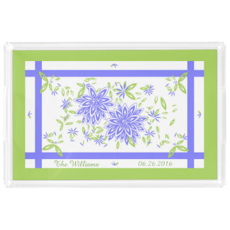 CHIC ACRYLIC SERVING TRAY_LOVELY PERIWINKLE/GREEN SERVING TRAY