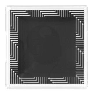 CHIC ACRYLIC TRAY_ WHITE/GREY ZIGZAG ON BLACK PERFUME TRAY