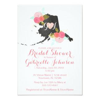 Chic Alaska State Floral Bridal Shower Invitation
