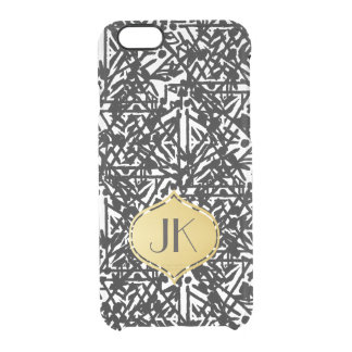 Chic and Carefree Bohemian Gold Monogram Clear iPhone 6/6S Case