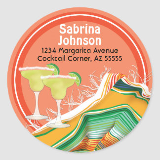 Chic and Contemporary Margarita Address Label Round Sticker