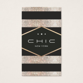 Chic and Elegant Black and Silver Sequins Striped Business Card