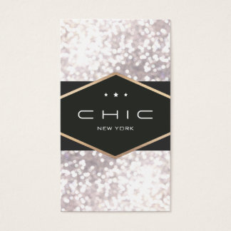 Chic and Elegant Black and White Bokeh Business Card