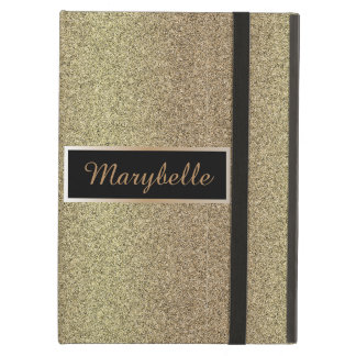 Chic and elegant monogrammed gold glitter effect iPad air cover