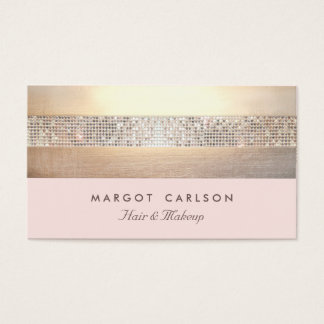Chic and Elegant Sequin Gold Light Pink Striped Business Card