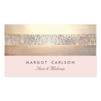 Chic and Elegant Sequin Gold Light Pink Striped Pack Of Standard Business Cards
