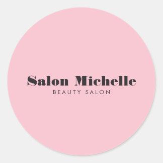 Chic and Minimalist Pink Beauty Salon Classic Round Sticker