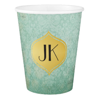 Chic and Nostalgic Vintage Paper Gold Monogram Paper Cup