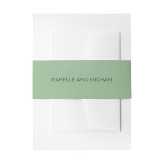 Chic and Sophisticated Soft Sage Green Wedding Invitation Belly Band