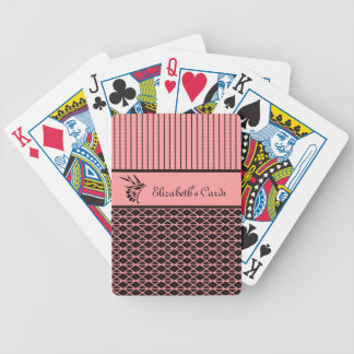 Chic and Stylish Pink and Brown Stripes With Name Bicycle Playing Cards