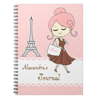 Chic and trendy Paris Eiffel tower Girly girl Notebook