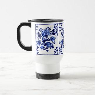Chic Antique Dutch Delft Blue Flowers Pattern Travel Mug