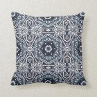 Chic Antique Dutch Delfts Blue Floral Pattern Throw Pillow