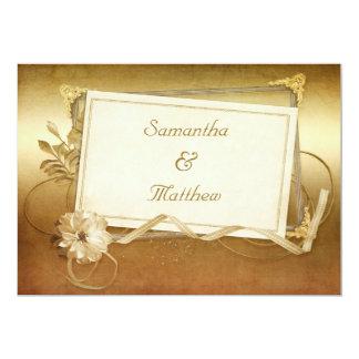 "Chic Antique Gold Vintage Frame Wedding 5"" X 7"" Invitation Card"