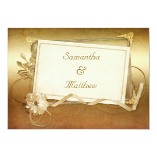 Chic Antique Gold Vintage Frame Wedding Personalized Announcements
