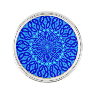 Chic Aqua and Blue Kaleidoscope Glow Mandala Lapel Pin