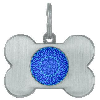 Chic Aqua and Blue Kaleidoscope Glow Mandala Pet Tag