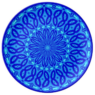 Chic Aqua and Blue Kaleidoscope Glow Mandala Plate