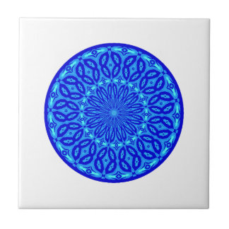 Chic Aqua and Blue Kaleidoscope Glow Mandala Tile