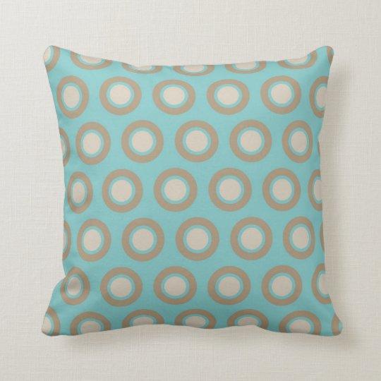 Chic Aqua and Cream Circles Throw Pillow