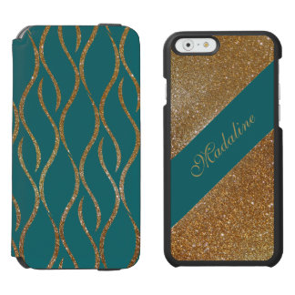 Chic Aqua and Gold Glitter iPhone 6 Wallet Case Incipio Watson™ iPhone 6 Wallet Case